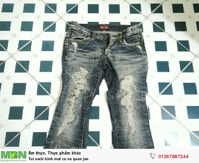 Túi xách hình mặt cú và quần jeans1
