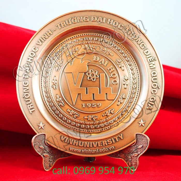 Đĩa gỗ đồng lưu niệm giá rẻ14