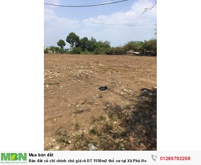 Bán đất củ chi chính chủ giá rẻ DT 1550m2 thổ cư tại Xã Phú Hoà Đông