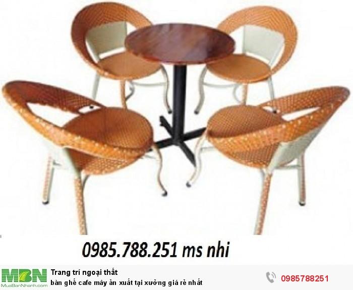 Bàn ghế cafe mây sản xuất tại xưởng giá rẻ nhất