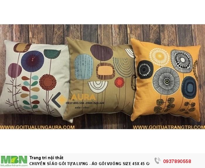 Chuyển Sỉ Áo Gối Tựa Lưng - Áo Gối Vuông Size 45x 45 Gối Tựa Lưng Aura Phong Cách Hiện Đại