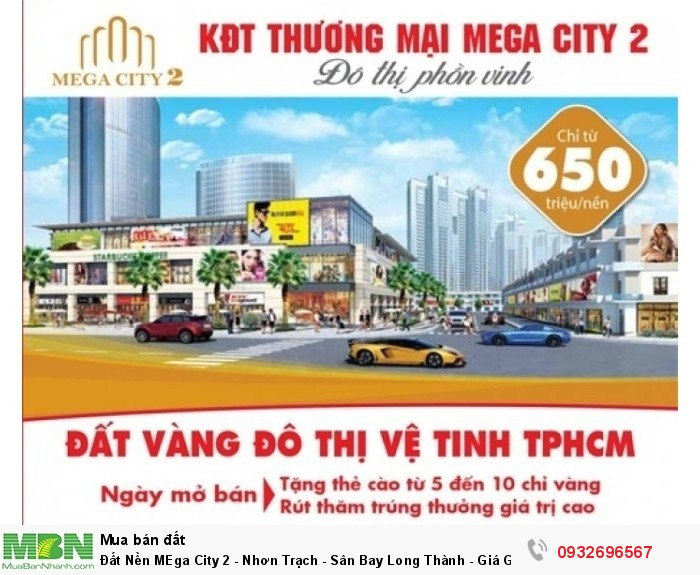 Đất Nền MEga City 2 - Nhơn Trạch - Sân Bay Long Thành - Giá Gốc CĐT - Mặt Tiền 47m