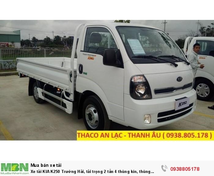 Xe tải KIA K250 Trường Hải, tải trọng 2 tấn 4 thùng kín, thùng mui bạt, hỗ trợ 75% giá trị xe.