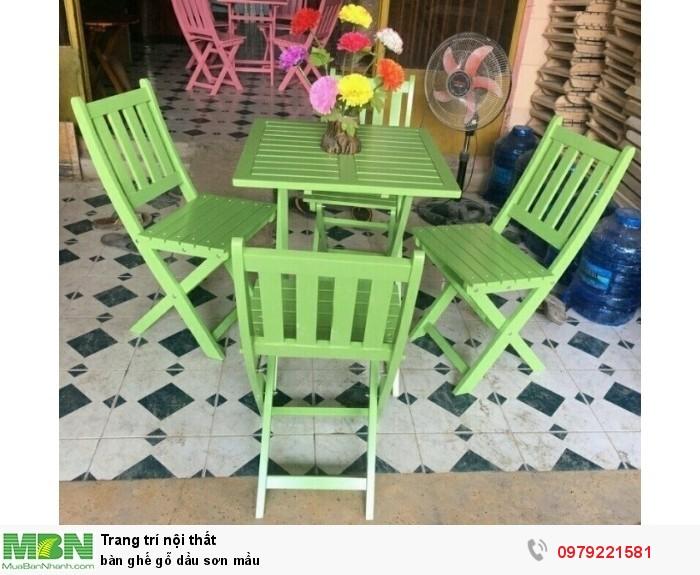 Bàn ghế gỗ dầu sơn mầu