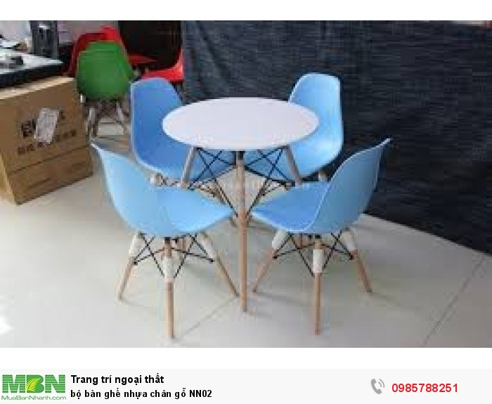 Bộ bàn ghế nhựa chân gỗ NN021