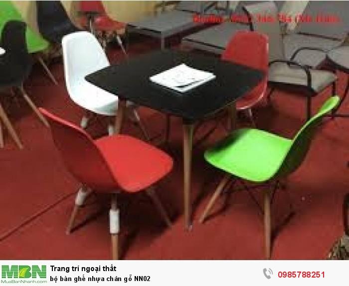 Bộ bàn ghế nhựa chân gỗ NN022