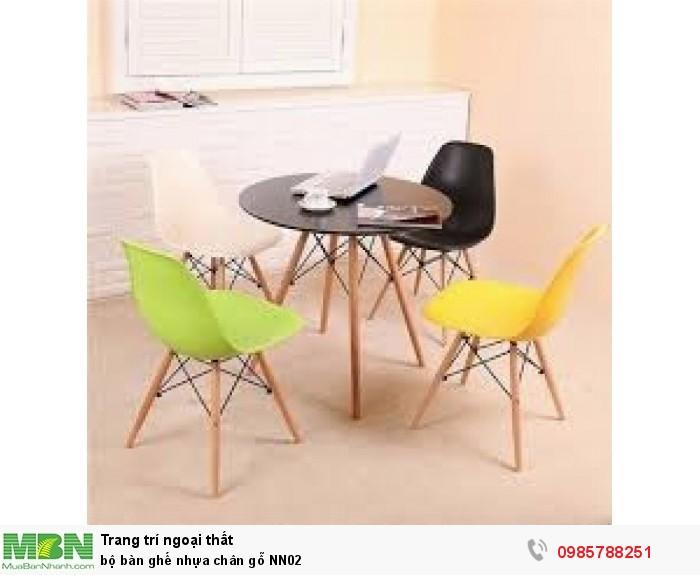 Bộ bàn ghế nhựa chân gỗ NN023
