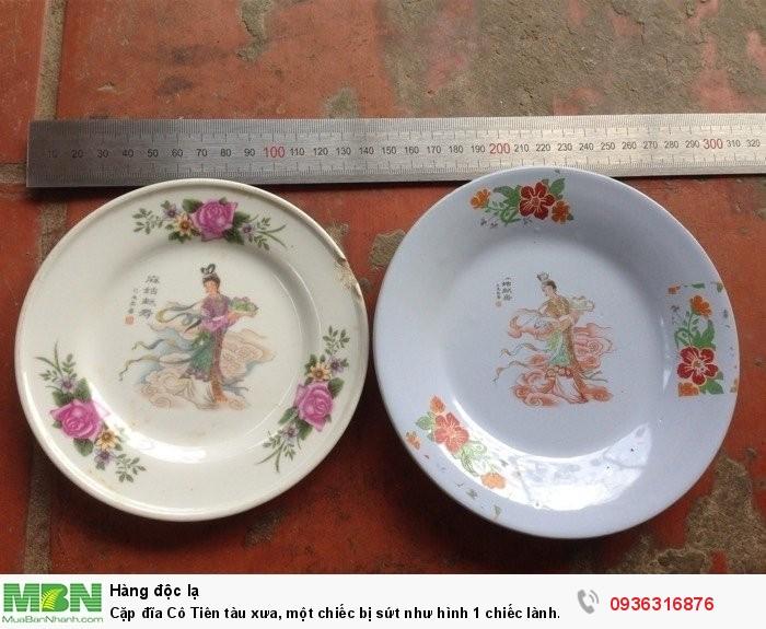 Cặp đĩa Cô Tiên tàu xưa, một chiếc bị sứt như hình 1 chiếc lành nhiều màu thời gian, khoảng hơn 30 năm, men rạn tự nhiên do lâu ngày, đường kính 13,5 và  15 cm, giá 1800