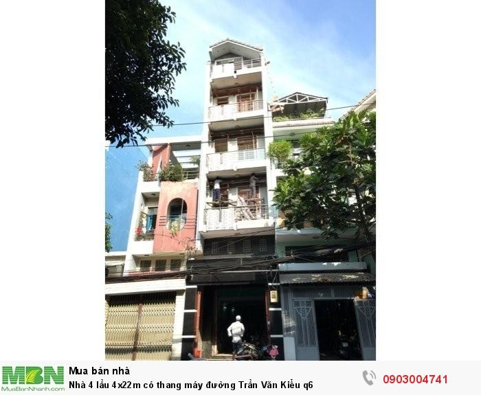 Nhà 4 lầu 4x22m có thang máy đường Trần Văn Kiểu q6