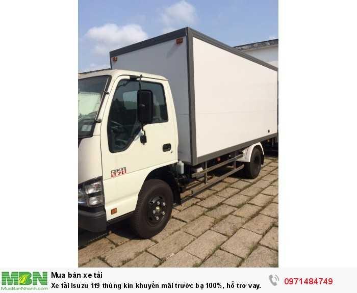 Xe tải Isuzu 1t9 thùng kín khuyến mãi trước bạ 100%, hỗ trơ vay trả góp 90%, giao ngay