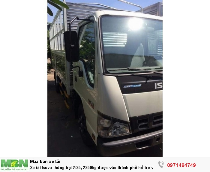 Xe tải  Isuzu thùng  bạt 2t35, 2350kg  được vào thành phố hỗ trơ vay trả góp 90% 3