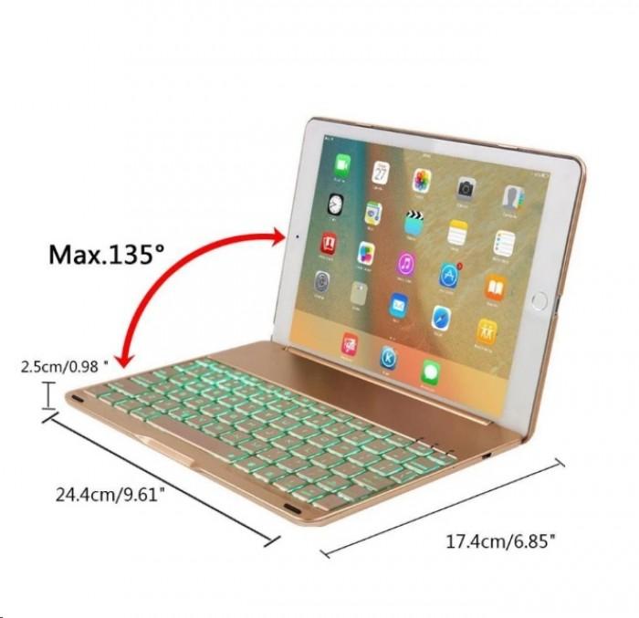 Bàn phím Bluetooth ipad kiêm ốp lưng mini 4 LED Cao cấp6