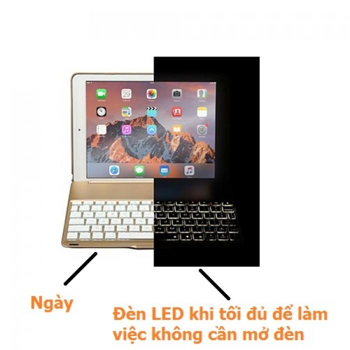 Bàn phím Bluetooth ipad kiêm ốp lưng mini 4 LED Cao cấp4