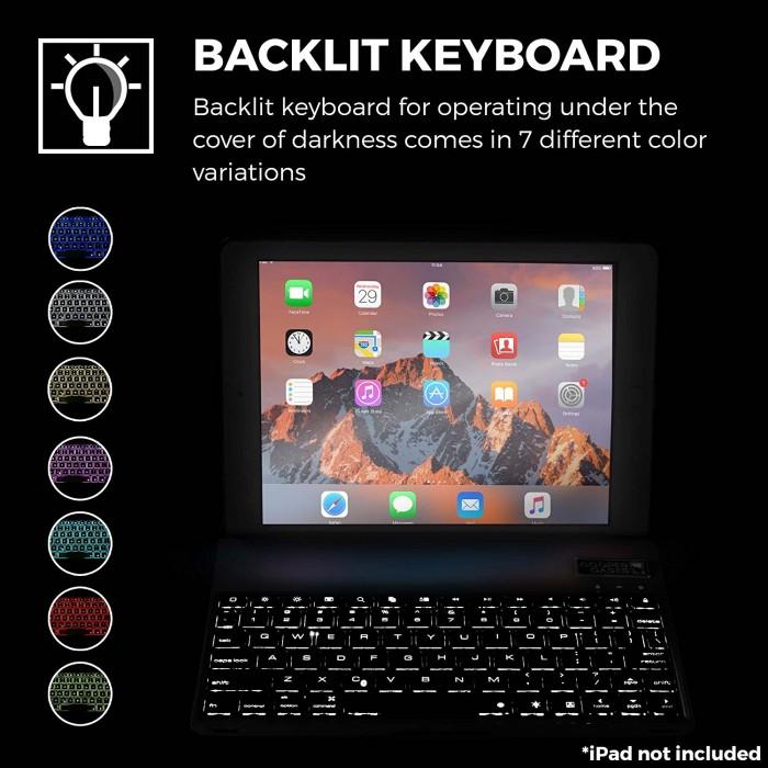 Bàn phím Bluetooth ipad kiêm ốp lưng mini 4 LED Cao cấp2