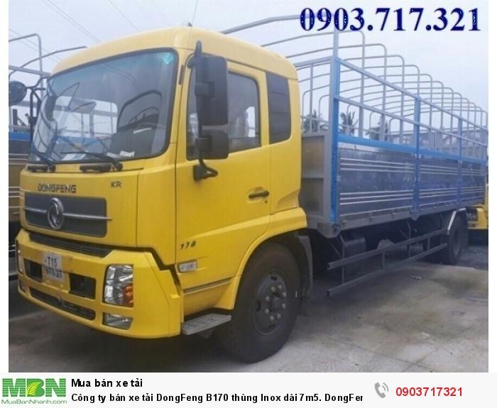 Công ty bán xe tải DongFeng B170 thùng Inox dài 7m5. DongFeng B170 tải cao 9T35