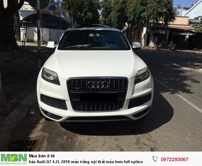 Bán Audi Q7 4.2L 2010 màu trắng nội thất màu kem full option