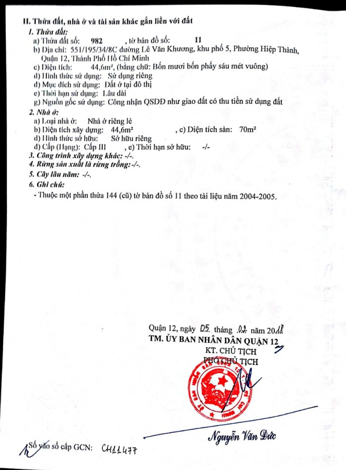 Nhà Bán Phường Hiệp Thành Q12
