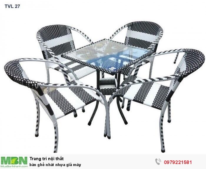 Bàn ghế nhât nhựa giả mây