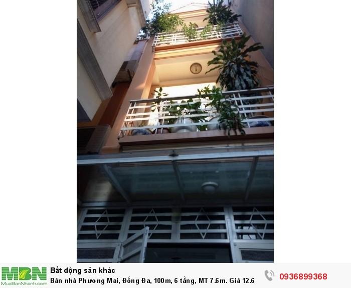 Bán nhà Phương Mai, Đống Đa, 100m, 6 tầng, MT 7.6m.