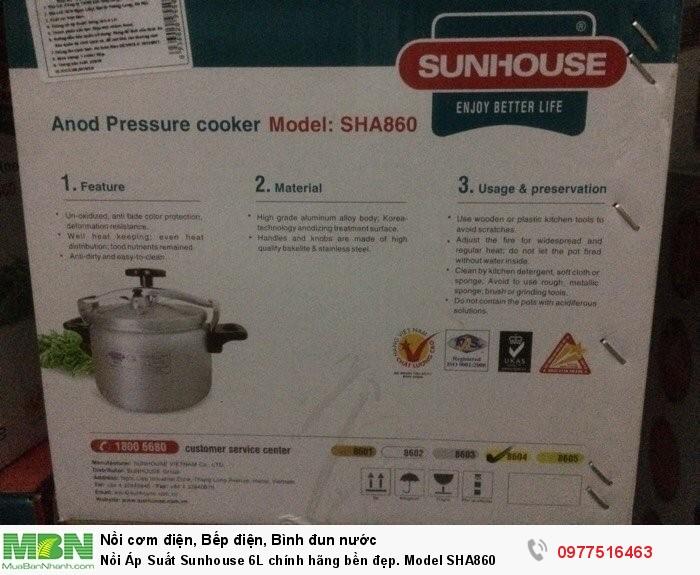 Nồi Áp Suất Sunhouse 6L chính hãng bền đẹp. Model SHA860