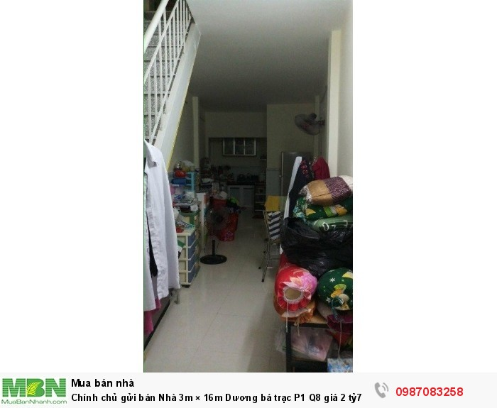 Chính chủ gửi bán Nhà 3m × 16m Dương bá trạc P1 Q8 giá 2 tỷ7