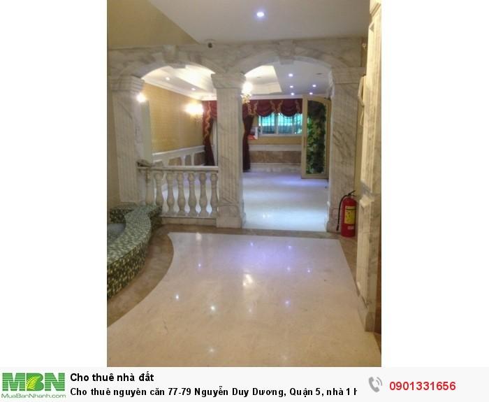 Cho thuê nguyên căn 77-79 Nguyễn Duy Dương, Quận 5, nhà 1 hầm, 6 lầu, DT 8x23m.