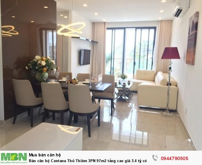 Bán căn hộ Centana Thủ Thiêm 3PN 97m2 tầng cao giá 3.4 tỷ có VAT, view Quận 1 và Khu Thảo Điền cực đẹp