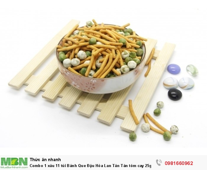 Combo 1 xâu 11 túi Bánh Que Đậu Hòa Lan Tân Tân tôm cay 25g