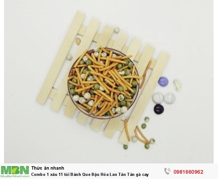 Combo 1 xâu 11 túi Bánh Que Đậu Hòa Lan Tân Tân gà cay4