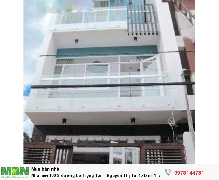 Nhà mới 100% đường Lê Trọng Tấn - Nguyễn Thị Tú, 4x12m, 1 lầu