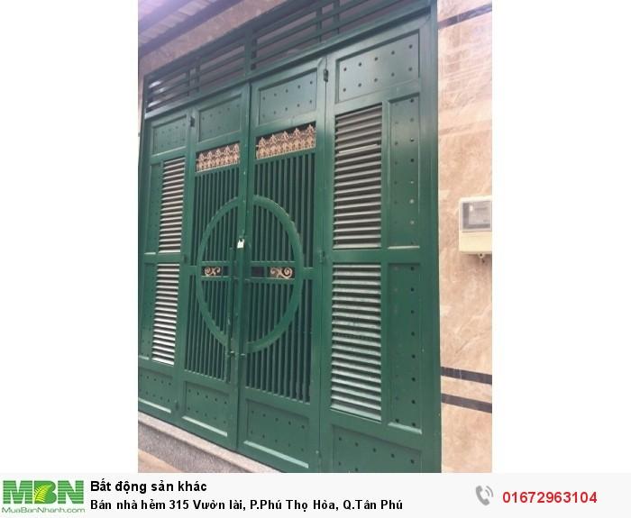 Bán nhà hẻm 315 Vườn lài, P.Phú Thọ Hòa, Q.Tân Phú