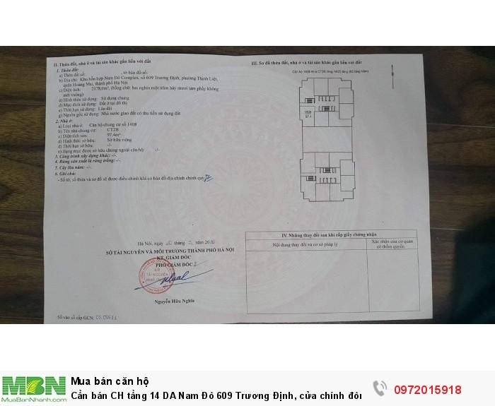 Cần bán CH tầng 14 DA Nam Đô 609 Trương Định, cửa chính đông nam, 98m2, 3PN