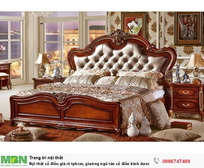 [3] Nội thất cổ điển giá rẻ TPHCM, giường ngủ tân cổ điển Bình Dương, Cần Thơ