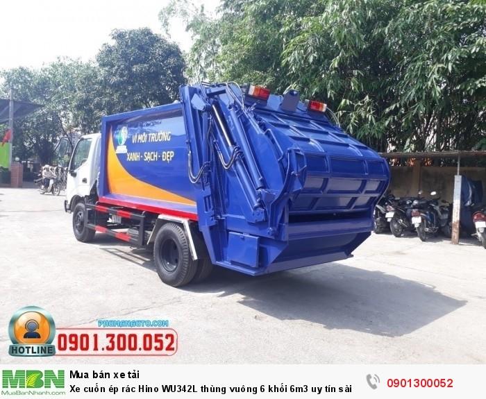 Xe cuốn ép rác Hino WU342L thùng vuông 6 khối 6m3 uy tín sài gòn 1