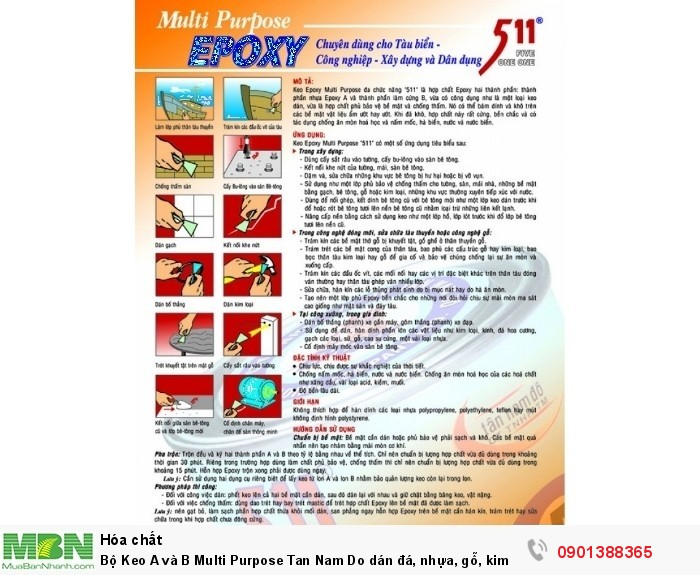 Bộ Keo A và B Multi Purpose Tan Nam Do dán đá, nhựa, gỗ, kim loại Epoxy 511 - Epoxy5111