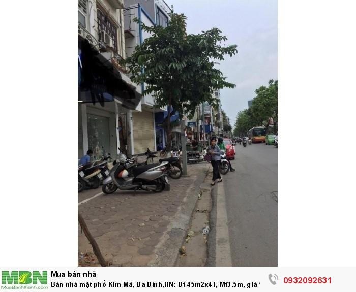 Bán nhà mặt phố Kim Mã, Ba Đình,HN: Dt 45m2x4T, Mt3.5m, giá 15.5 tỷ