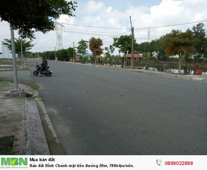 Bán đất Bình Chánh mặt tiền đường 20m, 780triệu/nền.