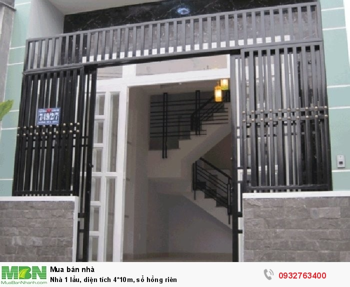 Nhà 1 lầu, diện tích 4*10m, sổ hồng riên