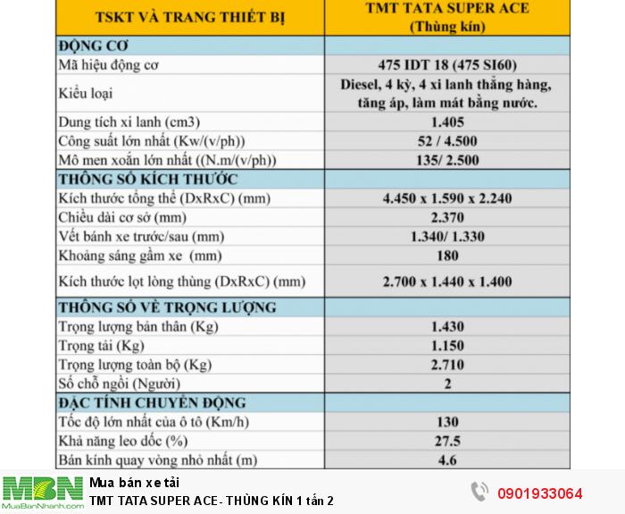 Tmt Tata Super Ace- Thùng Kín 1 Tấn 2