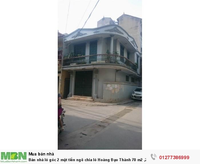 Bán nhà lô góc 2 mặt tiền ngõ chia lô Hoàng Đạo Thành 70 m2 ,2 tầng ô tô vào nhà