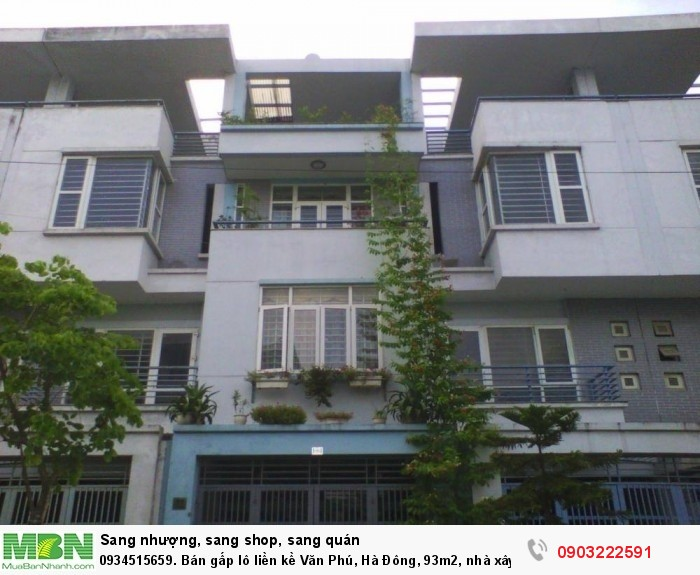 Bán gấp lô liền kề Văn  Phú, Hà Đông, 93m2, nhà xây thô giá 5 tỷ.