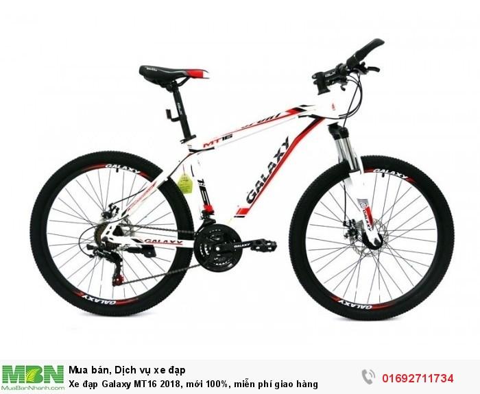 Xe đạp Galaxy MT16 2018, mới 100%, miễn phí giao hàng, màu trắng đỏ