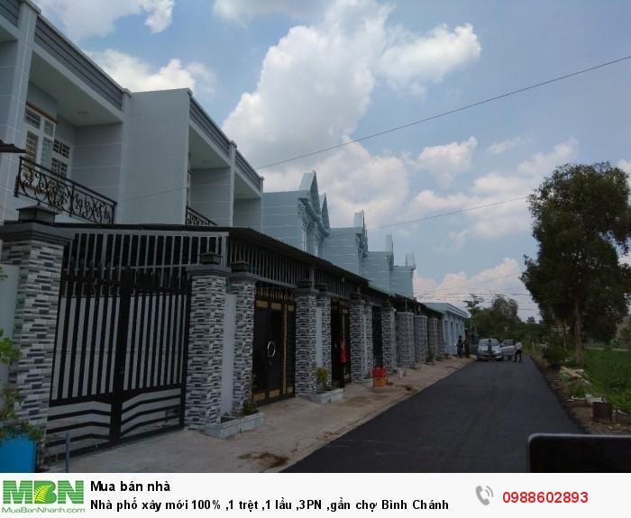 Nhà phố xây mới 100% ,1 trệt ,1 lầu ,3PN ,gần chợ Bình Chánh