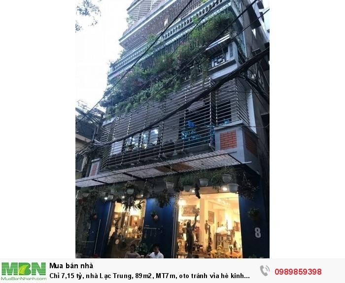Chỉ 7,15 tỷ, nhà Lạc Trung, 89m2, MT7m, oto tránh vỉa hè kinh doanh đỉnh.