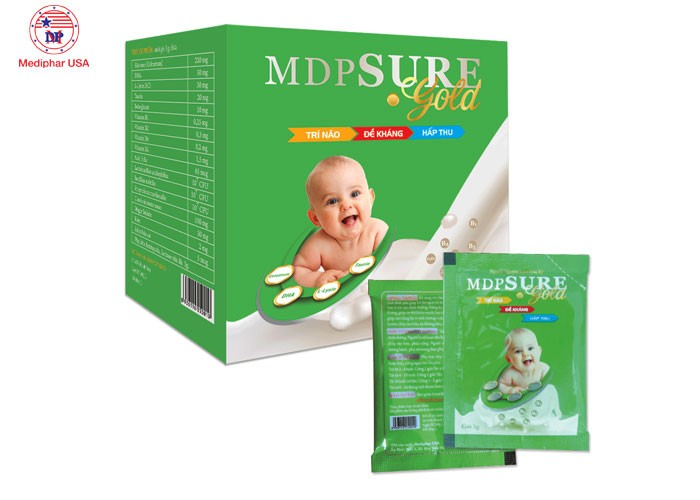MDPSUREGOLD được đặc chế từ sữa non, DHA, L-Lysin, Taurin,..1