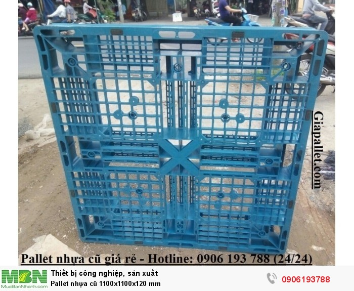 Pallet nhựa cũ 1100x1100x120 mm - Hotline: 0906193788 (24/24)