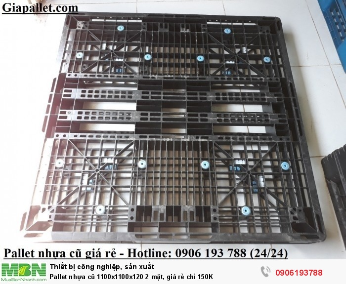 Pallet nhựa cũ giá rẻ 1100x1100x120 2 mặt - Chỉ 150k - Liên hệ: 0906193788 (24/24)