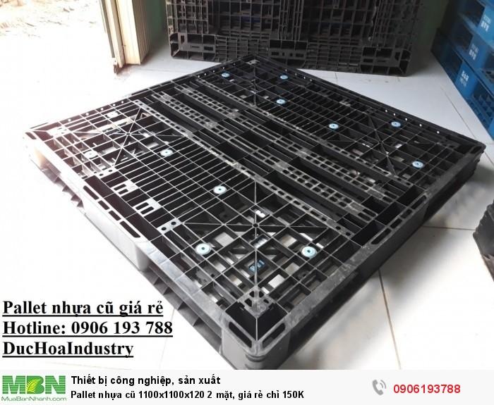 Pallet nhựa cũ 1100x1100x120 2 mặt, giá rẻ chỉ 150K