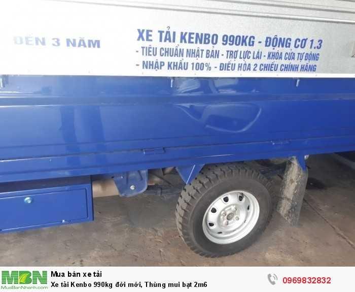 Xe tải Kenbo 990kg đời mới, Thùng mui bạt 2m6