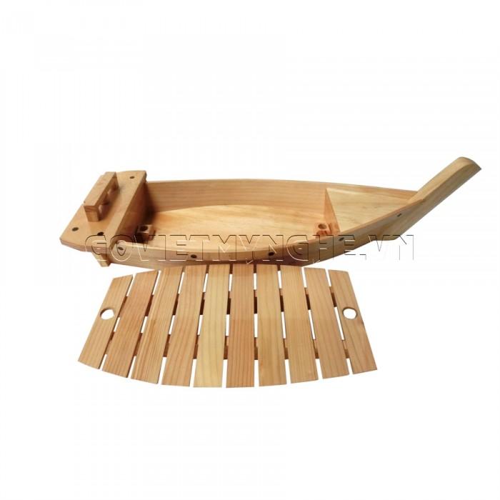 Khay thuyền gỗ trang trí sushi - sashimi Nhật Bản (Có Cột Lưới): các size 40cm, 50cm, 60cm, 80cm, 100cm, 120cm, 170cm